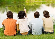 Four friends sitting near the edge of a pond, one pointing, rear view