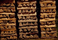 Close_up of stacks of logs