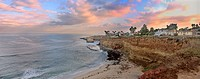 Sunset cliffs beach, San Diego, California, sunrise over the cliffs in the Pacific Ocean