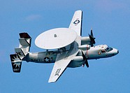 An E-2C Hawkeye, assigned to the 'Sun Kings' of Carrier Airborne Early Warning Squadron One One Six (VAW-116) conducts aerial maneuvers during an air ...