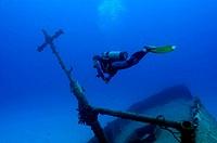 Man scuba diving underwater in the sea