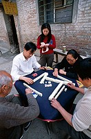 Street Scene, People Playing Mahjong, Gambling Game, Beijing, China