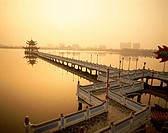 Dawn, Wuli Pagoda, Nine Cornered Bridge, Lotus Lake, Kaohsiung, Taiwan