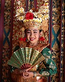 Legong Dancer, Girl Dressed in Traditional Dancing Costume, Bali, Indonesia
