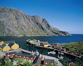 Town View with Fisherman´s Cabins (Rorbus), Nusfjord, Lofoten Islands, Norway