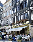 Outdoor Cafes and Building Facade, Place du Vieux-Marche, Rouen, Normandy, France