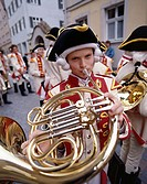 Young Boy Playing Traditional Horn, Children´s Festival, Dinkelsbuhl, Romantic Road, Bavaria, Germany
