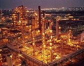 High angle view of an oil refinery lit up at night
