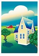 Prairie Farm 2003 Linda Braucht (20th C. American) Computer graphics