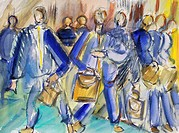 Business Types, 2002, Richard H. Fox (b.1960/American), Watercolor on Paper