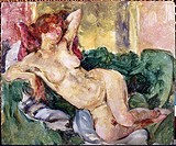 Reclining Nude  1920 Martha Walter (1875-1976 American) Oil on board David David Gallery, Philadelphia, Pennsylvania, USA