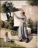 Woman Hanging Laundry Camille Pissarro  (1830-1903/French)