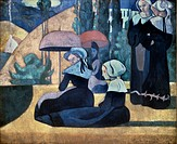 Brittany Women with Umbrellas 1892 Emile Bernard (1868-1941 French) Palais de Tokyo, Paris, France