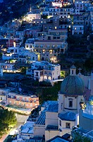 Town View with Santa Maria Assunta Church / Evening. Positano. Amalfi Coast. Campania. Italy.