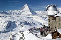Gornergrat Kulm Hotel and Restaurant & Matterhorn. Winter. Gornergrat Mountain (el.3089 meters). Zermatt. Valais-Wallis. Switzerland.