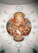 fine arts, Brugger, Andreas, (1737 - 1812), painting, ´adoration of the shepherds´, fresco, choir, church of our lady, Thal, Switzerland, Europe, 19th...