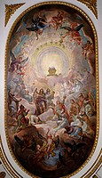 fine arts, Brugger, Andreas, (1737 - 1812), painting, ´adoration of the lamb´, ceiling frecso, 1775, former collegiate church, Bad Buchenau, Baden-Wue...