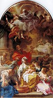 fine arts, religious art, Saint Mary, birth, painting, 18th century, 500 cm x 350 cm, Ertingen parish church, Europe, baroque, Madonna, mother Saint A...