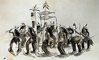 geography / travel, USA, people, American Indians, snowshoe dance, lithograph, by George Catlin, (1796 - 1872), ´The Indians of North America´, London...