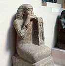 fine arts, ancient world, Egypt, New Kingdom, sculpture, sitting person, table for sacrifice, hard stone, circa 1450 BC, British Museum, London, histo...