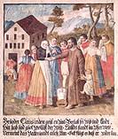 Nicholas of Flue, 1417 - 21.3.1487, Swiss hermit, ascetic, mystic, Saint, bidding farewell to the family, fresco, Galgenen, historic, historical, reli...