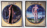 superstition, man and woman, planets as macrocosmic correspondents to body parts and internal organs, colour panel, Southern Germany, 17th century, Ge...