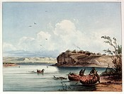 geography / travel, USA, people, American Indians, tribes, Mandan, Mih-Tutta-Hangkusch village, colour engraving, after watercolour by Carl Bodmer, (1...
