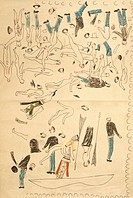 geography / travel, USA, Indian Wars, battle of the Little Bighorn 25.6.1876, Custer `s dead cavalry, reproduction after drawing of Sioux chief ´Red H...