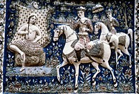 fine arts, Islamic art, relief, ´prince on horse surprising bathing lady´, Teheran, Iran, mid 19th century, faience, painted, Victoria and Albert muse...