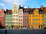 Beautiful houses at Main Market Square in Old Town Wroclaw of Poland