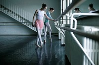 Female ballet dancers exercising at a ballet bare