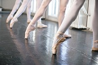 Female ballet dancers doing the battements tendus