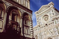 Duomo fa&#231;ade and Baptistery side. Florence. Italy