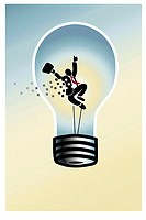 Lightbulb Man Linda Braucht (20th C. American) Computer graphics (thumbnail)
