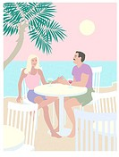 Beach Couple Linda Braucht (20th C. American) Computer Graphics