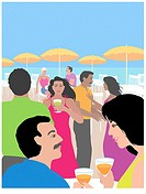 Beach Party Linda Braucht (20th C. American) Computer Graphics