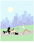Dog Walker 3 Linda Braucht (20th C. American) Computer Graphics