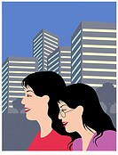 Oriental Gals in City Linda Braucht (20th C. American) Computer Graphics