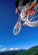 Person performing stunt on mountain bike