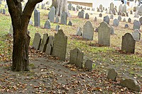 Massachusetts, Boston, Old Granary Burial Ground, site along Freedom Trail, famous American patriots buried here next to Park Street Church