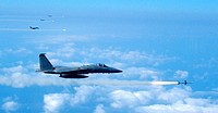 A formation of F-15 Eagles target and fire on a decoy as part of a joint service training exercise Wednesday, Feb. 22, 2006. The three-day exercise, c...