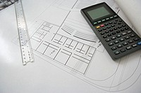 Calculator and architectural plans