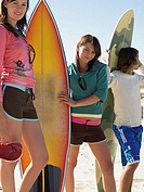 Young people with surfboards
