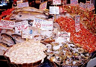 Seafood at Pike Market in Seattle, Washington, USA