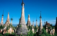 Ruined stupas of Shwe Inn Thein. Indein. Inle Lake. Shan State. Myanmar.