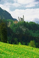 Low angle view of Neuschwanstein Castle, Romantic Route Road, Germany