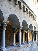 Cloister of monastery, Sant Cugat del Vall&#232;s. Barcelona province, Catalonia, Spain
