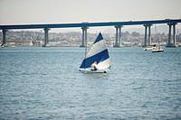 Person sailing in a boat, Glorietta Bay, San Diego, California, USA