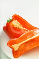 Pieces of a red pepper, extreme close-up, selective focus, part of