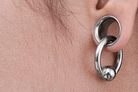 Close-up of a woman wearing earrings